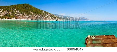 Panoramic view of Cala Luna cove at Gulf of Orosei in Sardinia