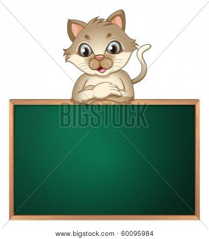 Illustration of a cat leaning above the blackboard on a white background