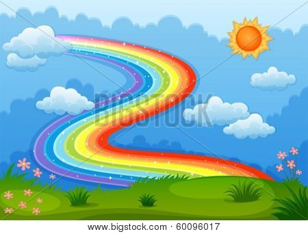 Illustration of a rainbow with sparkling stars above the hills
