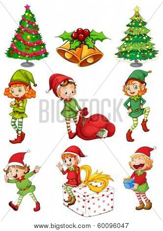 Illustration of the christmas templates on a white background