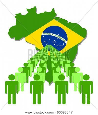 Lines of people with Brazil map flag vector illustration