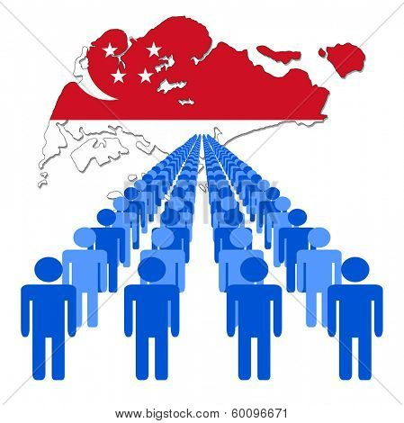 Lines of people with Singapore map flag vector illustration