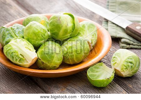 Bowl Of Fresh Uncooked Brussels Sprouts