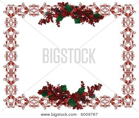 Christmas Border Holly Berries garland