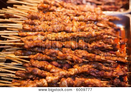Roasted Meat On Wood Sticks