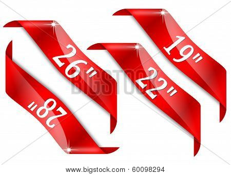 Red Corners With Signs For Diagonal Monitor Screen