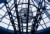 stock photo of geosphere  - Hi tech metal wire architectural detail - JPG