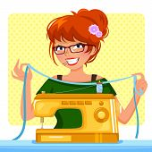 foto of time machine  - girl preparing to sew with her sewing machine - JPG