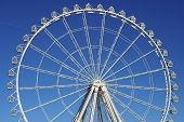 pic of dizziness  - noria booths with blue sky in Zaragoza - JPG