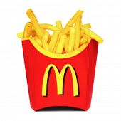 MOSCOW, RUSSIA-JULY 7, 2013: McDonald's French fries. McDonald's Corporation is the world's largest