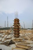 stock photo of formwork  - Fabrication of wooden column formwork at construction site - JPG