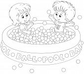 foto of pool ball  - Little girl and boy playing in a ball pool - JPG