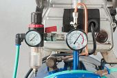 stock photo of air pressure gauge  - pressure gauge and air filter regulator on Air Pump - JPG