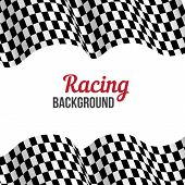 Background with checkered racing flag.