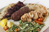 picture of tabouleh  - Various barbecued kebabs  - JPG