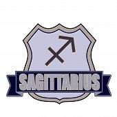 picture of sagittarius  - sagittarius grunge stamp whit on vector illustration - JPG