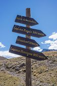 stock photo of aconcagua  - Sign Aconcagua the highest mountain in the Americas at 6 - JPG