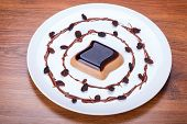 image of panna  - Coffee panna cotta dessert on the plate - JPG