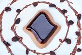 stock photo of panna  - Coffee panna cotta dessert on the plate - JPG