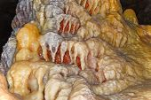 stock photo of stalagmite  - stalactites and stalagmites in New Athos Cave Abkhazia - JPG