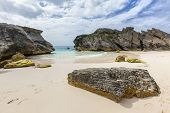 Long stretches of pale pink sand beaches at Horseshoe Bay, Bermuda.
