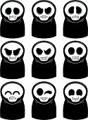 stock photo of grim-reaper  - various expression of funny cartoon grim reaper - JPG