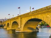 stock photo of rebuilt  - London Bridge in Lake Havasu, Arizona old historic bridge rebuilt with original stones in America