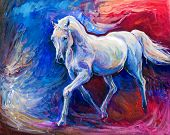 foto of chestnut horse  - Original abstract oil painting of a beautiful blue horse running - JPG