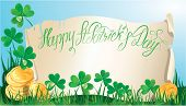 stock photo of shamrocks  - Holiday card with calligraphic words Happy St - JPG