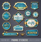picture of 100 percent  - blue and golden promo stickers and quality seals - JPG