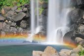 Majestic Waterfall With Colorful Rainbow