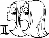 foto of gemini  - Black and White Cartoon Illustration of Gemini or The Twins Horoscope Zodiac Sign for Coloring Book - JPG