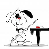 foto of snooker  - A cartoon dog with a snooker cue next to billiard table - JPG