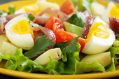 Colorful Salad With Anchovies, Tomatoes And Eggs.