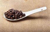 white spoon of coffee beans on burlap background