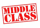 stock photo of middle class  - MIDDLE CLASS red Rubber Stamp over a white background - JPG