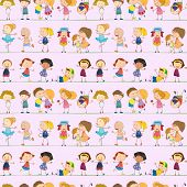 foto of playmate  - Illustration of a seamless design with kids on a white background - JPG