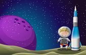 image of outerspace  - Illustration of a smiling astronaut beside the rocket in the outerspace - JPG