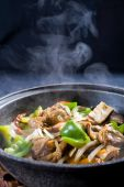 picture of green-beans  - closeup of Chinese steaming pork meat stew - JPG