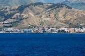 stock photo of messina  - Concrete highways and brdges on Messina Straight in Italy - JPG