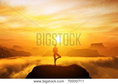 Woman meditating in tree yoga position on the top of a mountains above clouds at sunset. Zen, meditation, peace