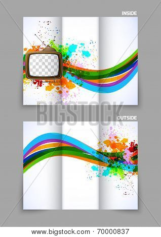 Abstract tri-fold brochure with tv