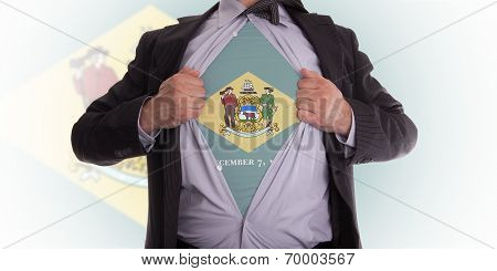 Businessman With Delaware Flag T-shirt