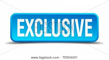 Exclusive Blue 3D Realistic Square Isolated Button