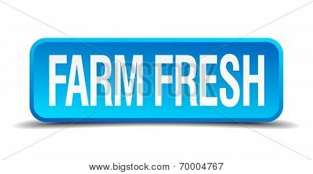 Farm Fresh Blue 3D Realistic Square Isolated Button