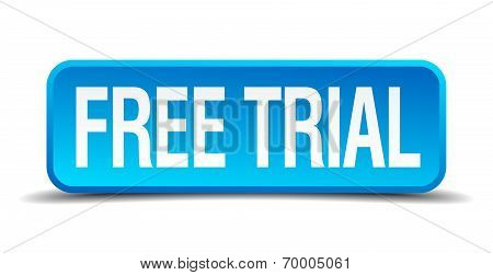 Free Trial Blue 3D Realistic Square Isolated Button