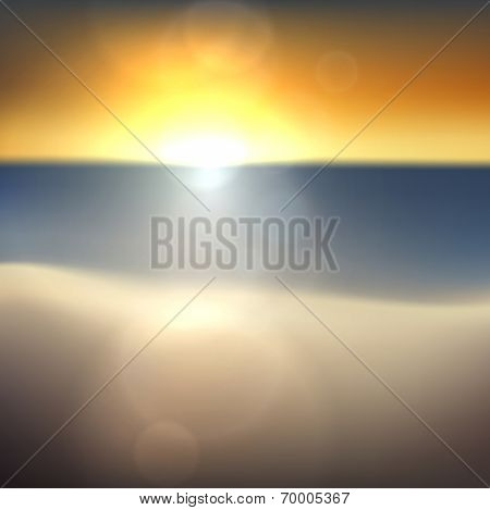 Summer sunset coast with sea and sky. Tropical background. Vector illustration.