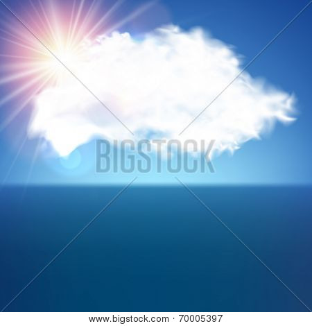 Realistic blue fluffy cloud with sun. Vector illustration.