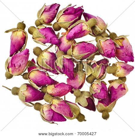 Tea-Rose Buds Surface Top view Heap Surface Top view  isolated on white background