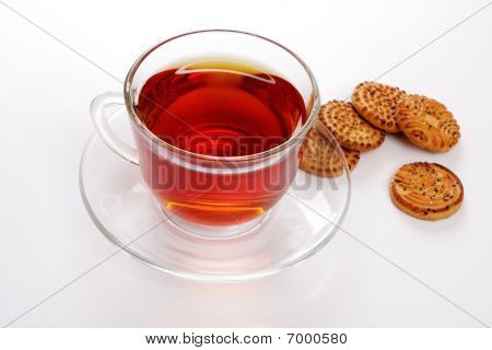 Cup Of Hot Tea And Cookies, Over White